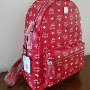 MCM red with white logo medium size backpacks